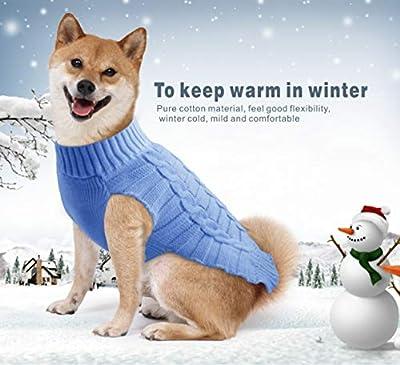 Idepet Pet Cat Dog Sweater,Warm Dog Coat Jumpers Hoodie Cat Clothes,Fleece Pet Coat for Puppy Small Medium Large Dog (M, Blue)