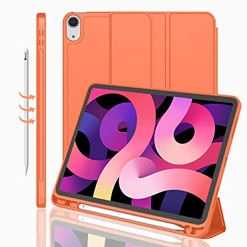 iMieet iPad Air 4th Generation Case 2020, iPad 10.9 Inch Case 2020 with Pencil Holder [Support iPad 2nd Pencil Charging/Pair],Trifold Stand Smart Case with Soft TPU Back,Auto Wake/Sleep (Orange)