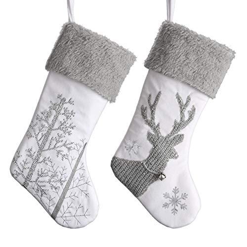 Valery Madelyn Nikolausstiefel 46cm 2er Set Nikolausstrumpf aus Textil Stoff Weihnachtsdeko Weihnachtsstrumpf Große Weihnachtsstrümpfe zum Befüllen und Aufhängen für Kamin Weihnachtsschmuck
