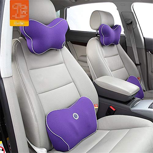 Lumbar Pillows Waist Support Cushion And Headrest Neck Pillow Kit Car Seat Ease Back Pain Travel Durable Breathable For Chair Back Rest (Color : Purple, Size : 39x23.5x11cm)