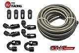 6An-6An6en acier inoxydable tressé Fuel gas Oil Line Tuyau 6,1m + pivotant Noir kit de fixation
