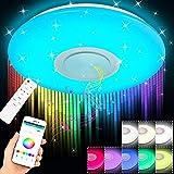 Lámpara LED de techo de 36W con altavoz bluetooth, ajuste de temperatura de color 2800 - 6500K, ajuste de color RGB, control remoto o de aplicación, Temporización, 40,5 x 40,5 x 8,5 cm