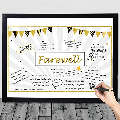 Going Away Party Decorations, Goodbye Card Guest Book Alternative Great Moving We Will Miss You Party Present for Office Coworker Men Women Happy Retirement Farewell Going Away Party Supplies