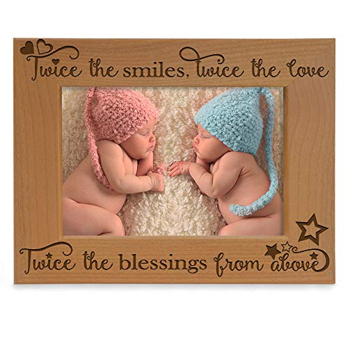 KATE POSH - Twice The Smiles, Twice The Love, Twice The Blessings from Above - Engraved Natural Wood Picture Frame - Twins Photo Frame, Twins Gifts for Babies, Twins Gifts for mom (4x6-Horizontal)