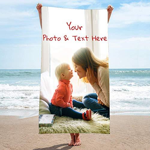 Benutzerdefinierte Foto Strandtücher, personalisierte Sport Badetuch mit Bild und Text, schnell trocknende große Decke Handtuch (80 x 160 cm)