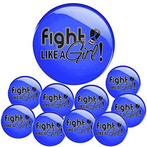Fight Like a Girl Button Pins for Colon Cancer, Huntington's Disease, AS, RA, 10-Pack (Blue)