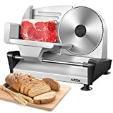 Meat Slicer Electric Deli Food Slicer for Home, Removable Food Slicer with 20cm Newest Serrated Blade, Include Professional Food Carriage, 15mm Adjustable Thickness for Meat, Bread, Cheese.