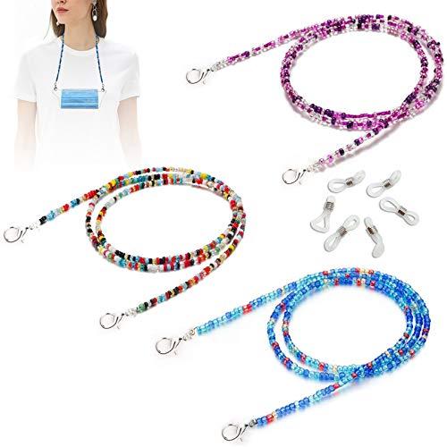 Finyosee 3 cordones para máscara facial, para gafas, collares y máscaras, cadenas de cuentas para gafas, elegante correa antipérdida, cómodo y adecuado para mujeres, hombres y...