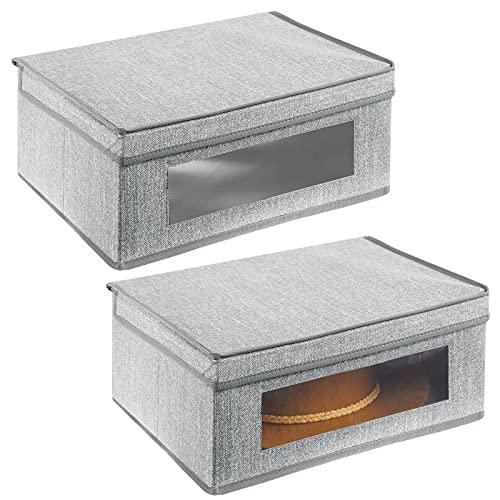 mDesign Set da 2 scatole portabiancheria – Scatole per armadi con coperchio e finestra in plastica – Scatola contenitore rettangolare in tessuto sintetico per riporre vestiti e accessori – grigio