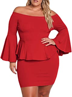Yskkt Womens Plus Size Peplum Dresses Off The Shoulder Short Sleeve Bell  Sleeve Ruched Bodycon Sexy b58fbfeef