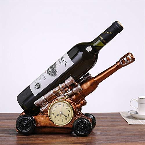 Creative Wine Topers Stand Bar Resina Europea Estante de vino Estante de exhibición Restaurante Vino Whiskey Organizer con reloj de escritorio Cocina