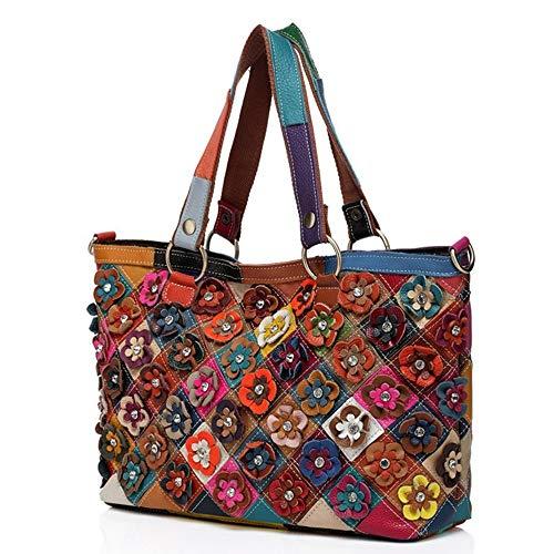 Eysee Borsa in vera pelle donne Borsa a tracolla borsetta Borsa colorata borsa multicolore borsa di fiori