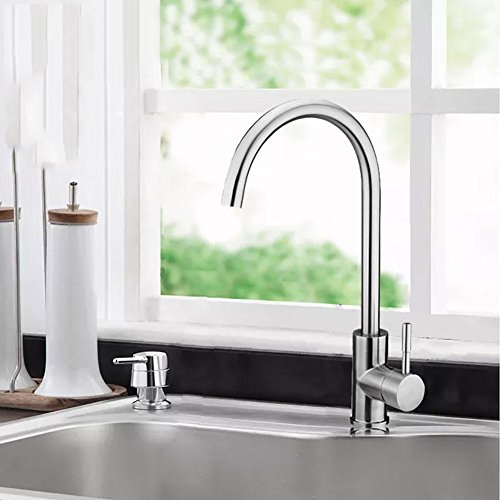 ZGSP Best Commercial Brushed Nickel Stainless Steel Single Handle Kitchen Sink Faucet, Hot and Cold Single Lever Kitchen Faucets, k6 hot and Cold Water tap