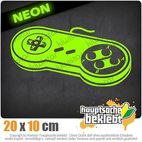 Kiwistar Controler Retro Spiel zocken Games Spiel 20 x 10 cm IN 15 Farben - Neon + Chrom! Sticker Aufkleber