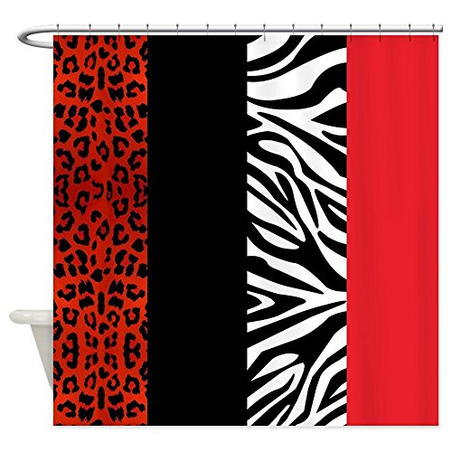 Crystal Emotion Decorative Red Leopard and Zebra Animal Print Fabric Shower Curtain