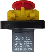 CK31 400V 6 Pins Waterproof Electromagnetic Push Button Switch Power Tool Emergency Stop Switches for Industrial Equipment...