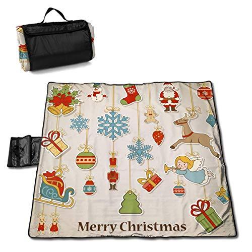 Suo Long Joyeux Noël et Bonne année décoration Couverture de Pique-Nique avec Tapis de Pique-Nique Pliable à Main pour Camping pelouse de Parc de Plage