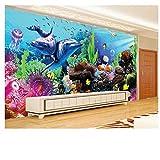 Lovemq Decoración De La Habitación De Los Niños Papel Tapiz 3D Mundo Submarino Acuario Estéreo Dolphin Coral Tv Papel Tapiz De Pared Mural-400X280Cm