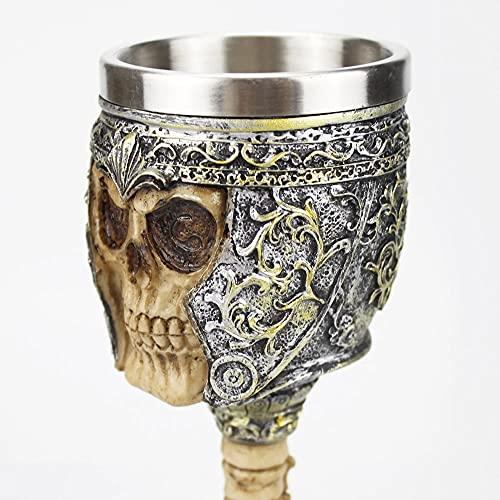 Vino copa estilo vikingo cerveza taza pirata cráneo retro acero inoxidable de acero inoxidable y resin vidrio, para cumpleaños regalos de halloween barra de bebida