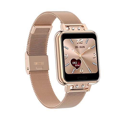 Aliwisdom Smartwatch für Damen Kinder, 1,22 Zoll Fashion Smartwatch Fitness Uhr Wasserdicht Sport Armbanduhr Fitness Tracker Metallarmband für iOS Android, Mit Whatsapp SMS-Lesefunktion (Roségold)