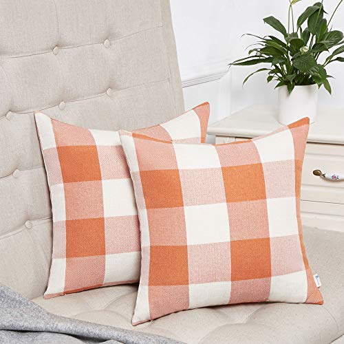 Anickal Set of 2 Fall Orange and White Buffalo Check Plaid Throw Pillow Covers Farmhouse Decorative Square Pillow Covers 24x24 Inches for Home Decor