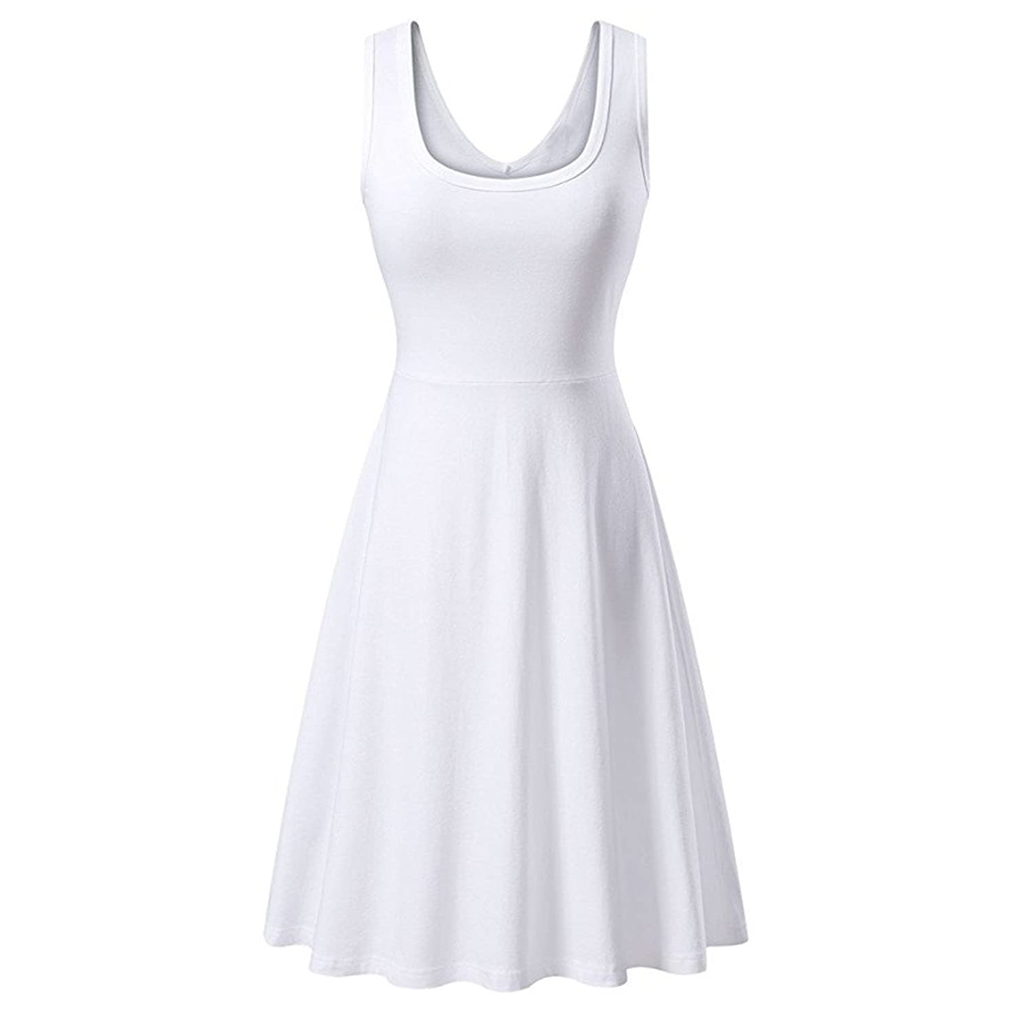 Dress for Women Sleeveless V Neck Solid Backless Pleated Swing Flowy Cocktail Dresses