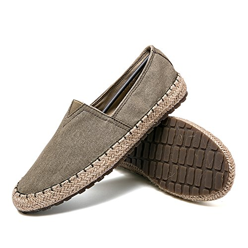 CASMAG Men's Casual Cloth Shoes Canvas Slip-on Loafers Outdoor Leisure Walking Khaki 10.5 M US
