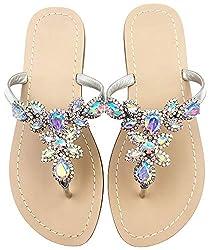 Silver Patent Leather Rhinestone Flat Flip Flop Sandal