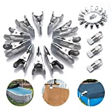 GORNORVA 30 PCS Swimming Pool Above Ground Winter Cover Clips Secure Your Winter Pool Cover Attaches to Top Rail Wind Guard Clips Multifunctional Metal Clips Towel Clips Spring Clamps