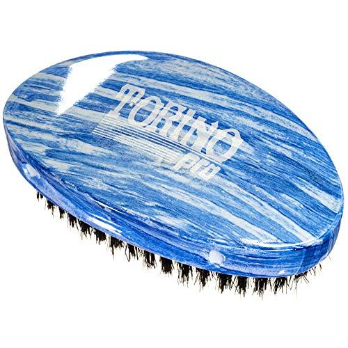 Torino Pro Medium Wave Brush #19 - Curve Palm Medium Hair brush for 360 Waves- 100% medium boar bristle Curved Hair brush for men