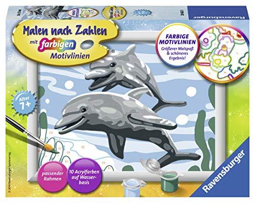 Ravensburger Malen nach Zahlen 28468 - Freundliche Delfine – Für Kinder ab 7 Jahren