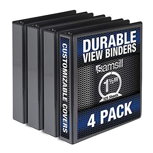 Samsill Durable 1.5 Inch Binder / Black Round Ring Binder / Customizable Clear View Binder / Bulk Binder 4 Pack / Black 3 Ring Binder / 1.5 Inch Binder