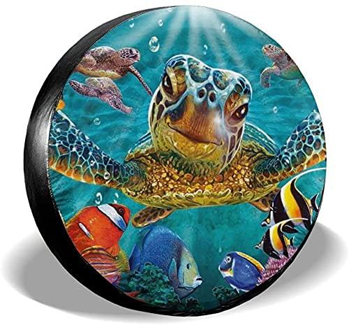 Marine Funny Sea Turtle Fish - Cubierta para llanta de repuesto,poliéster,universal,de 16 pulgadas,para llantas de repuesto para remolques,casas rodantes,SUV,ruedas de camiones,camiones,caravanas,acc