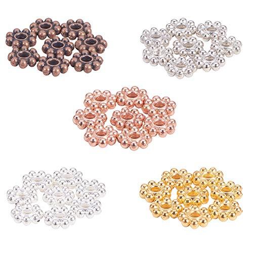 Pandahal Elite 500pcs Perline distanziatori di Lega di Fiori per Creazione di Gioielli, Materiale per Braccialetti Fai da Te, Colore Misto,