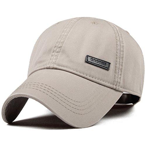 CACUSS Gorra de béisbol clásica de algodón Cierre con Hebilla Ajustable Sombrero de papá Deportes Gorra de Golf para Hombres B0080_Caqui Un tamaño