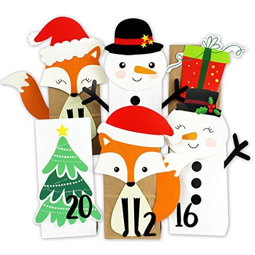 Papieren drachen DIY adventskalender om te vullen, stanskalender met 24 papieren zakken om zelf te vullen en om zelf te knutselen, Kerstmis 2019 voor kinderen Winterbosmix