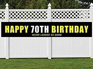 Nimab 70th Birthday Banner, Large Happy 70th Birthday Sign, 70 Bday Party Decoration Supplies