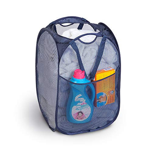 Deluxe Mesh Pop Up Laundry Hamper w/ Side Pocket & Handles