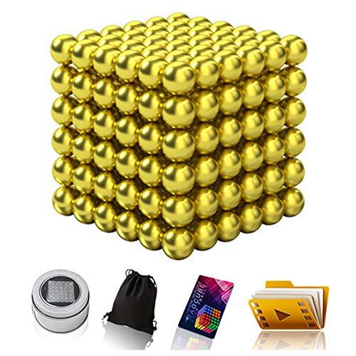 AP.DISHU 100 Sfere 5Mm Magnetiche, Palline Magnetiche Antistress, Gadget per L'ufficio, Idea Regalo, Mini Calamite per Frigorifero E Lavagna Magnetica Set Premium con Accessori,Amarillo