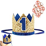 Baby 1st Birthday Hat Crown, Elastic Glitter Golden Blue Number 1 Mini Crown for Boys Girls First Birthday Smash Cake Photo Photography Props One Birthday Party Hats, Cat Dogs Birthday Decorations