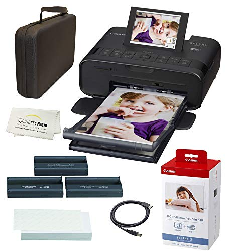 Canon SELPHY CP1300 Wireless Compact Photo Printer with AirPrint and Mopria Device Printing, with Canon KP108 Paper and Black Hard case to fit All Together (Black)