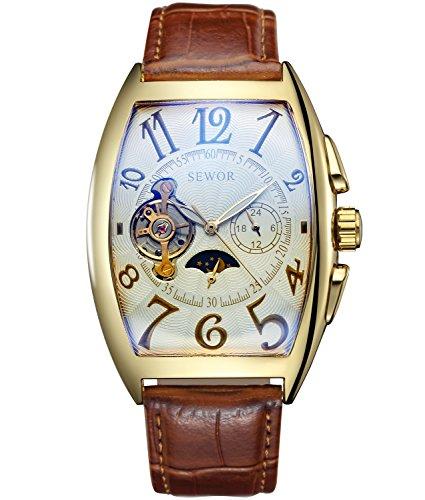 SEWOR Luxury Tourbillon Herren Mondphase automatische mechanische Armbanduhr Lederband Glasbeschichtung blau (Platin)