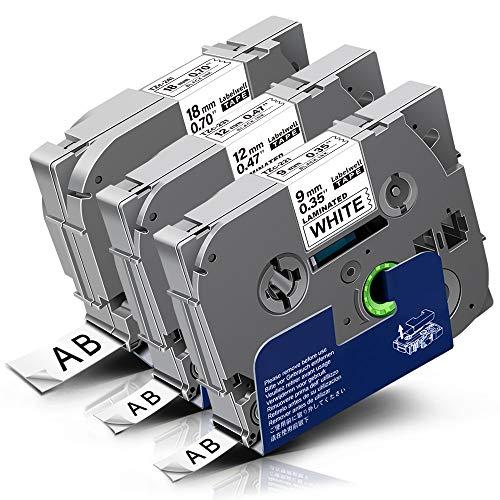 3x Labelwell Kompatibel Schriftband Ersatz für Brother TZ 9mm TZe-221 12mm TZe-231 18mm TZe-241 Schwarz auf Weiß für Brother P-touch CUBE PLUS PT-P710BT PT-D450VP PT-D400VP P750WVP P750W P700 H500LI