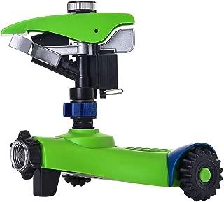 GREEN MOUNT Lawn Sprinkler, Automatic 360 Rotating Adjustable Garden Water Sprinkler, Stable Wheel Base with 2 Interchange Sprinkler Heads for Garden Lovers