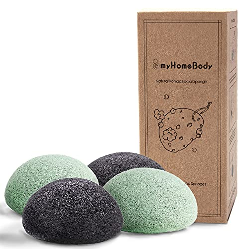 Natural Konjac Facial Sponges - for Gentle Face Cleansing and Exfoliation - with Activated Charcoal...