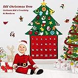 Fostoy Felt DIY Christmas Tree Ornaments Advent Calendar Set, 24 Days Countdown to Xmas Advent Calendar Tree for Holiday Christmas Wall Door Hanging Decorations