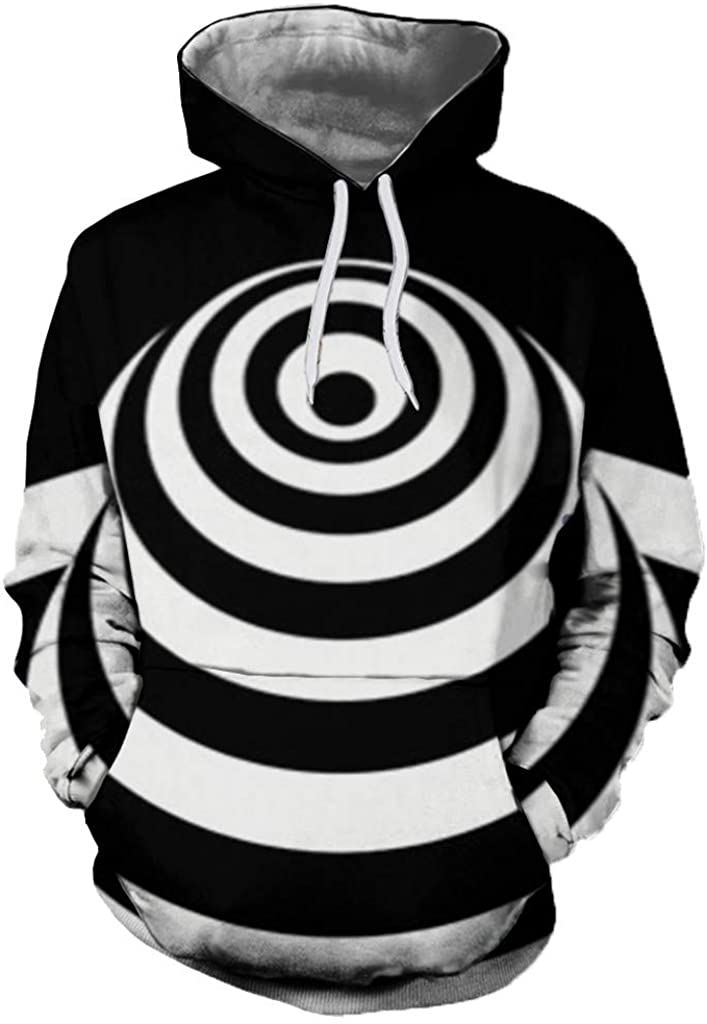 DIOMOR Mens Funny Unique 3D Dizzy Print Hypnotic Hoodie Casual Drawstring Hooded Tops Sweatshirt Outerwear Pullover