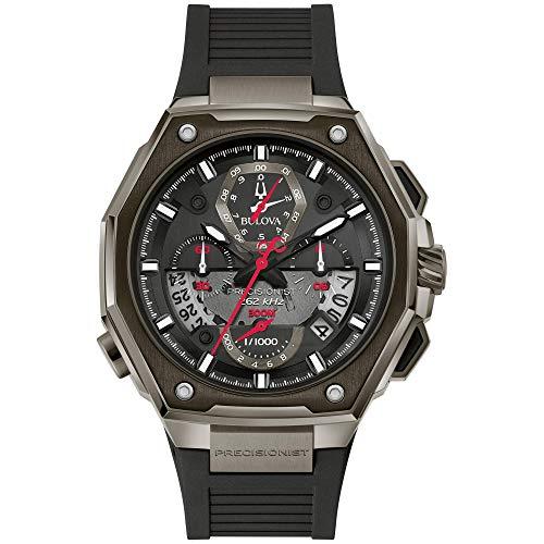 Relógio masculino Bulova Precisionist cronógrafo pulseira de borracha preta 98B358
