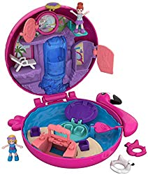 Shaped like a pink flamingo, the polly pocket world flamingo floatie compact opens to a themed world that is the splashiest of fun featuring polly and Lila dolls Compact also features secret reveals: turn the flamingo neck to create a wave pool, flip...
