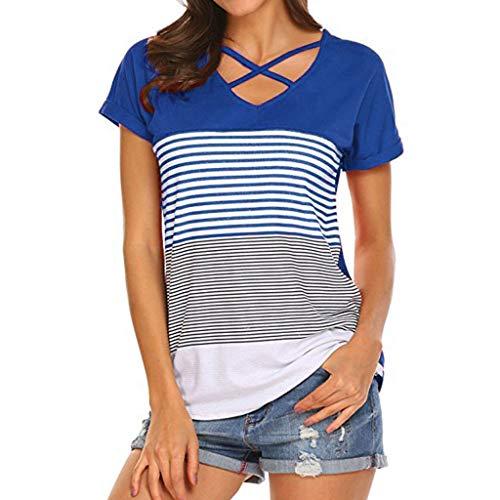 Topkal - Blusa de manga corta para mujer, diseño de rayas azul L